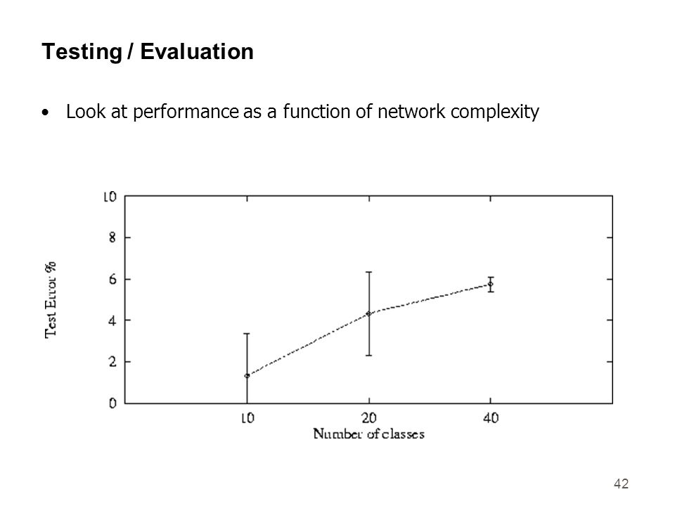 42 Testing / Evaluation Look at performance as a function of network complexity