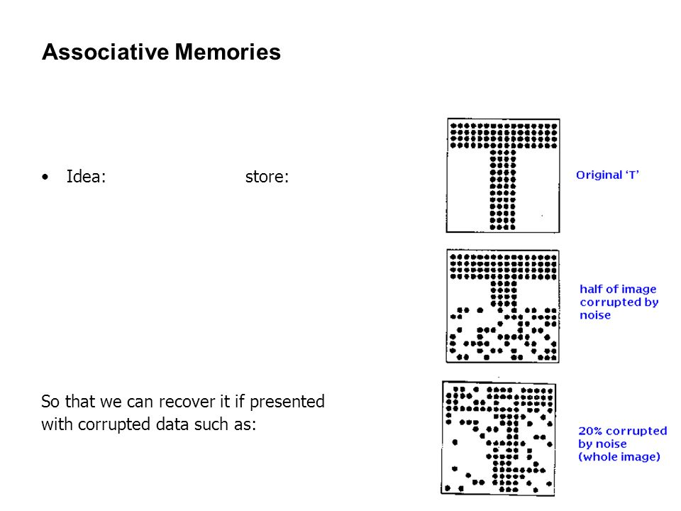 44 Associative Memories Idea: store: So that we can recover it if presented with corrupted data such as: