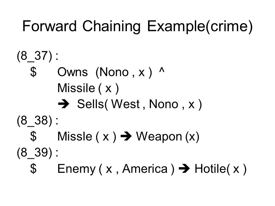 Forward Chaining Example(crime) (8_37) : $ Owns (Nono, x ) ^ Missile ( x ) Sells( West, Nono, x ) (8_38) : $ Missle ( x ) Weapon (x) (8_39) : $ Enemy ( x, America ) Hotile( x )