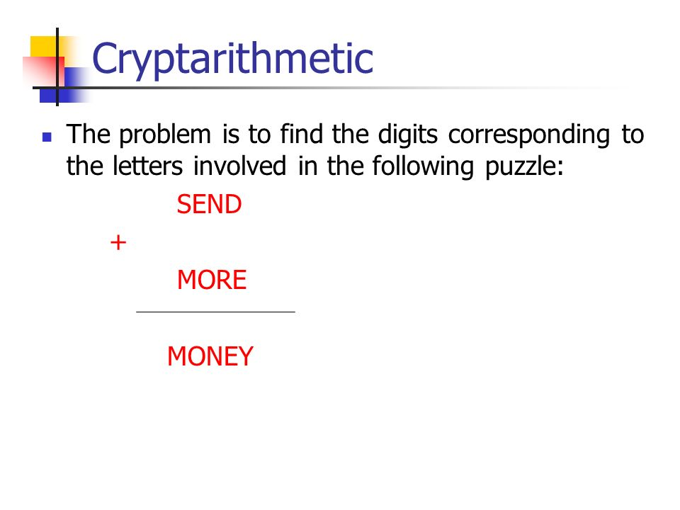 Cryptarithmetic The problem is to find the digits corresponding to the letters involved in the following puzzle: SEND + MORE MONEY