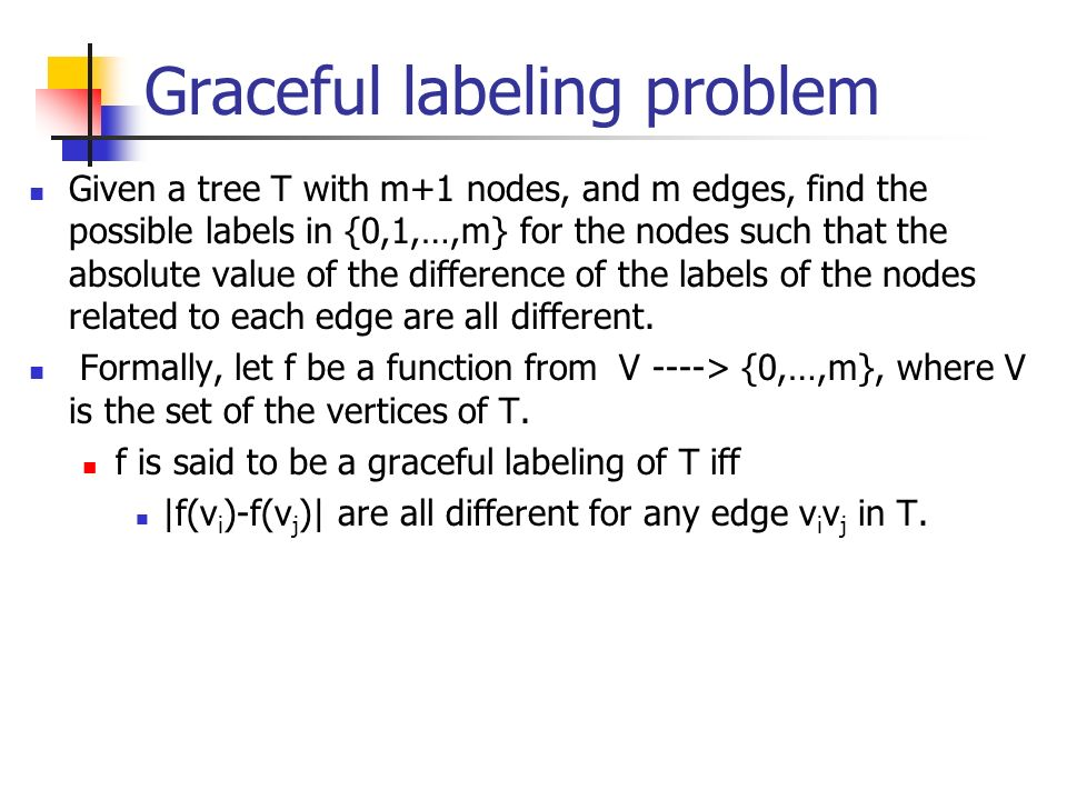 Graceful labeling problem Given a tree T with m+1 nodes, and m edges, find the possible labels in {0,1,…,m} for the nodes such that the absolute value