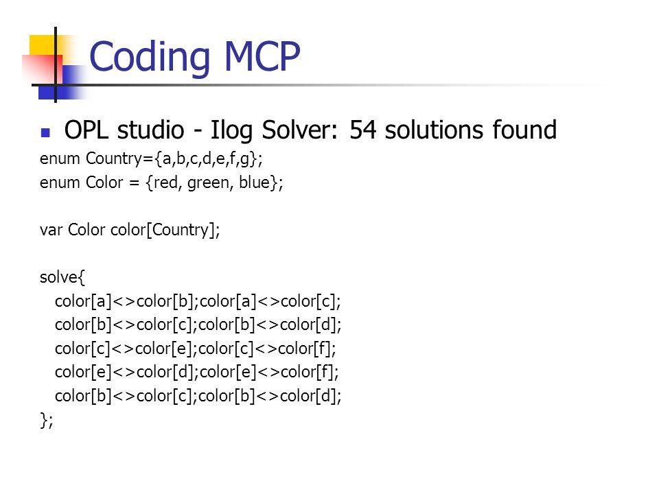 Coding TTP OPL Studio - Cplex Solver var float+ productA[Range];var float+ productB[Range]; var float+ productC[Range]; var float+ productD[Range]; minimize 10*productA[1] + 7*productA[2] + 11*productA[3] + 8*productB[1] + 5*productB[2] + 10*productB[3] + 5*productC[1] + 5*productC[2] + 8*productC[3] + 9*productD[1] + 3*productD[2] + 7*productD[3] subject to { productA[1] + productA[2] + productA[3] = 200; productB[1] + productB[2] + productB[3] = 400; productC[1] + productC[2] + productC[3] = 300; productD[1] + productD[2] + productD[3] = 100; productA[1] + productB[1] + productC[1] + productD[1]<=500 productA[2] + productB[2] + productC[2]+productC[2] <= 300; productA[3] + productB[3] + productC[3] + productD[3] <= 400; };