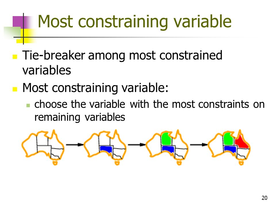 20 Most constraining variable Tie-breaker among most constrained variables Most constraining variable: choose the variable with the most constraints o