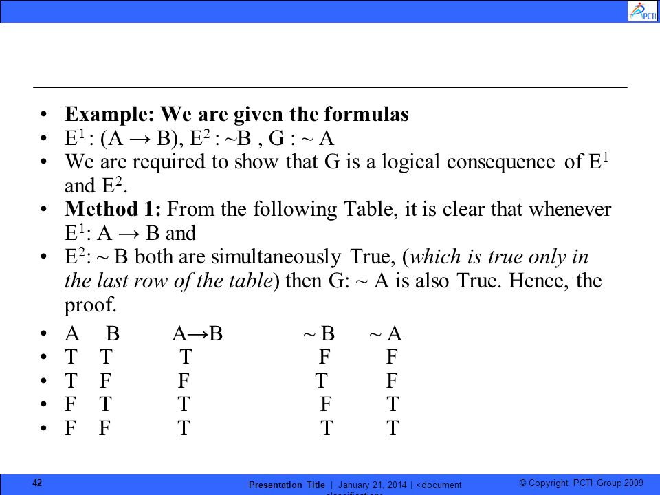 © Copyright PCTI Group 2009 Presentation Title | January 21, 2014 | 42 Example: We are given the formulas E 1 : (A B), E 2 : ~B, G : ~ A We are required to show that G is a logical consequence of E 1 and E 2.
