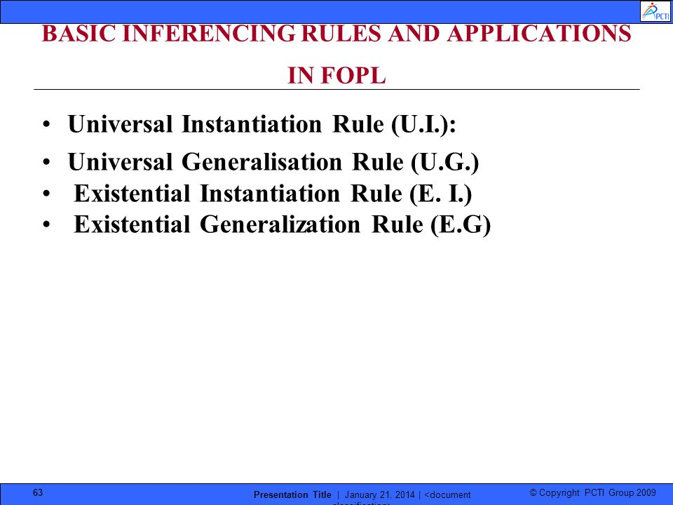 © Copyright PCTI Group 2009 Presentation Title | January 21, 2014 | 63 BASIC INFERENCING RULES AND APPLICATIONS IN FOPL Universal Instantiation Rule (