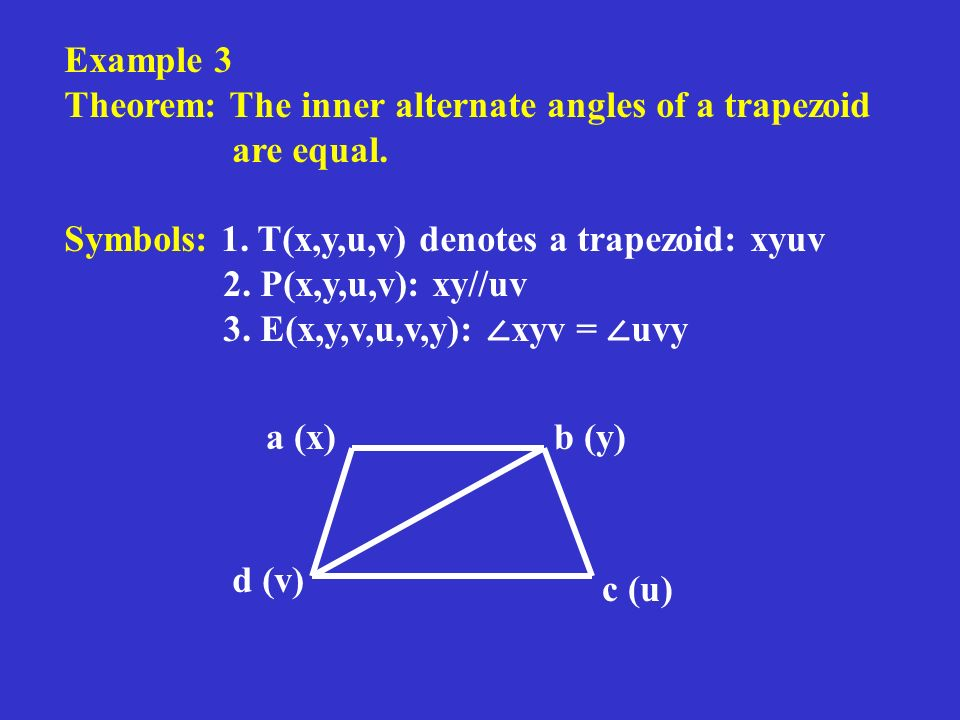 Example 3 Theorem: The inner alternate angles of a trapezoid are equal.