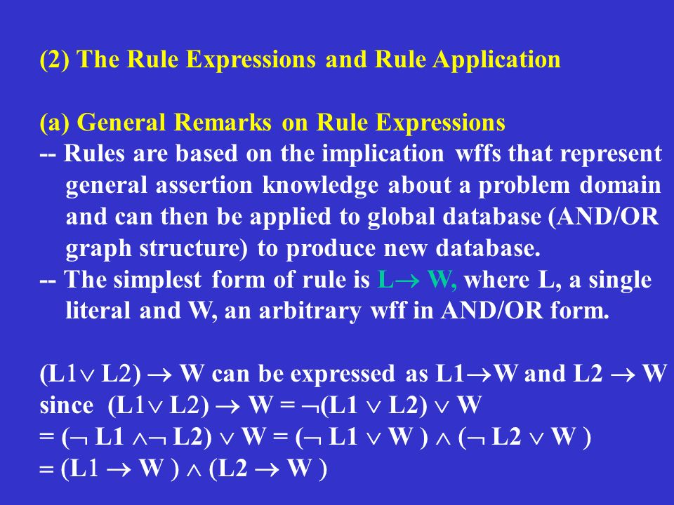 (2) The Rule Expressions and Rule Application (a) General Remarks on Rule Expressions -- Rules are based on the implication wffs that represent general assertion knowledge about a problem domain and can then be applied to global database (AND/OR graph structure) to produce new database.