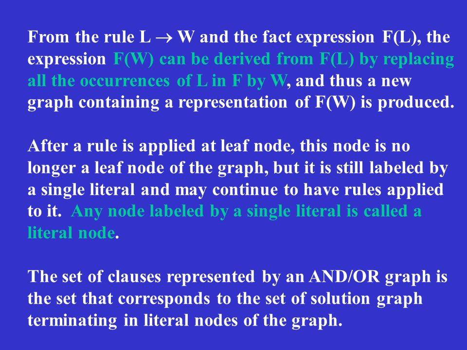 From the rule L W and the fact expression F(L), the expression F(W) can be derived from F(L) by replacing all the occurrences of L in F by W, and thus a new graph containing a representation of F(W) is produced.