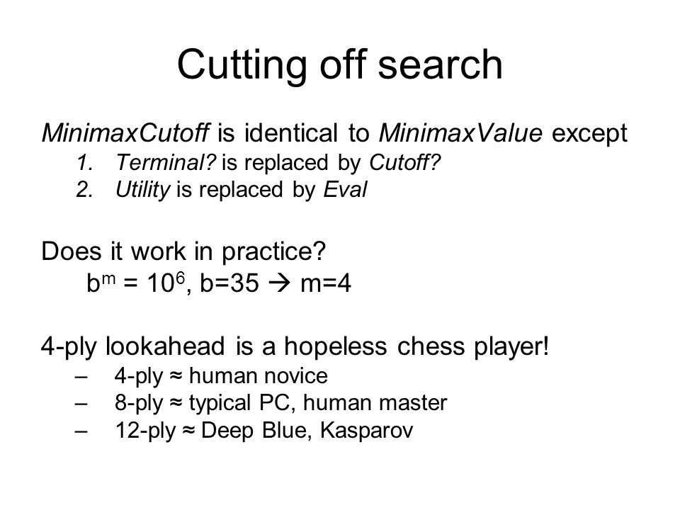 Cutting off search MinimaxCutoff is identical to MinimaxValue except 1.Terminal.