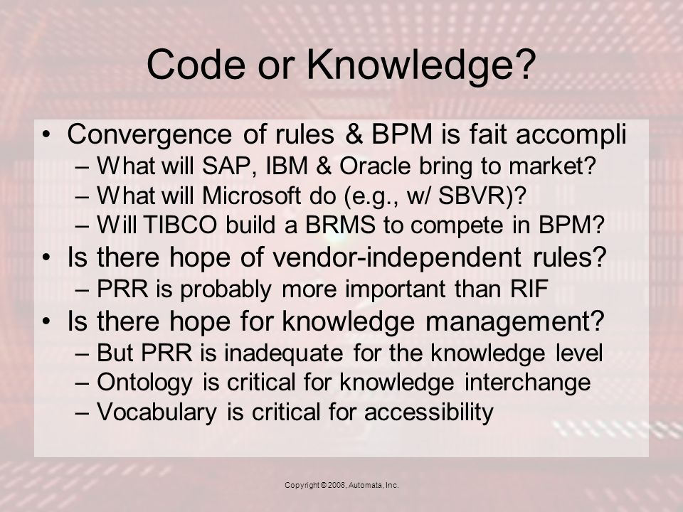 Code or Knowledge.