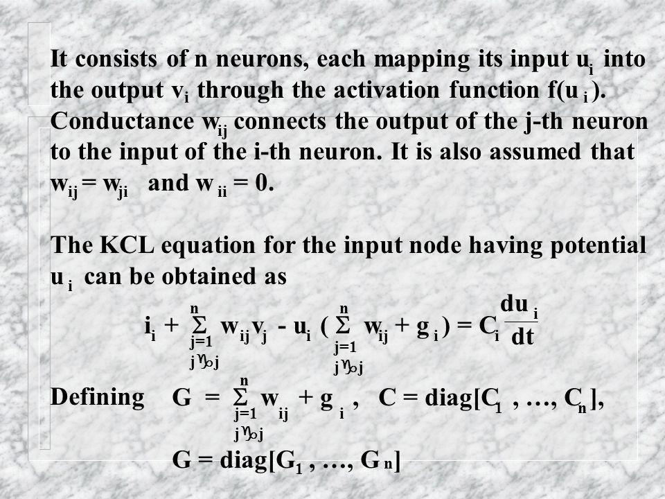 It consists of n neurons, each mapping its input u into the output v through the activation function f(u ). Conductance w connects the output of the j