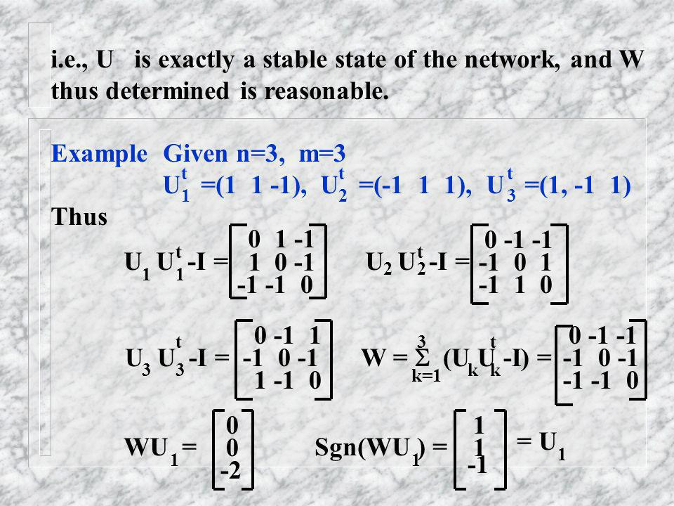 i.e., U is exactly a stable state of the network, and W thus determined is reasonable. Example Given n=3, m=3 U =(1 1 -1), U =(-1 1 1), U =(1, -1 1) T