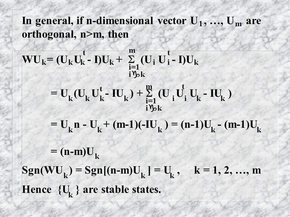 In general, if n-dimensional vector U, …, U are orthogonal, n>m, then 1m WU = (U U - I)U + (U U - I)U kkkkk tt ii m i=1 i k = U (U U - IU ) + (U U U -
