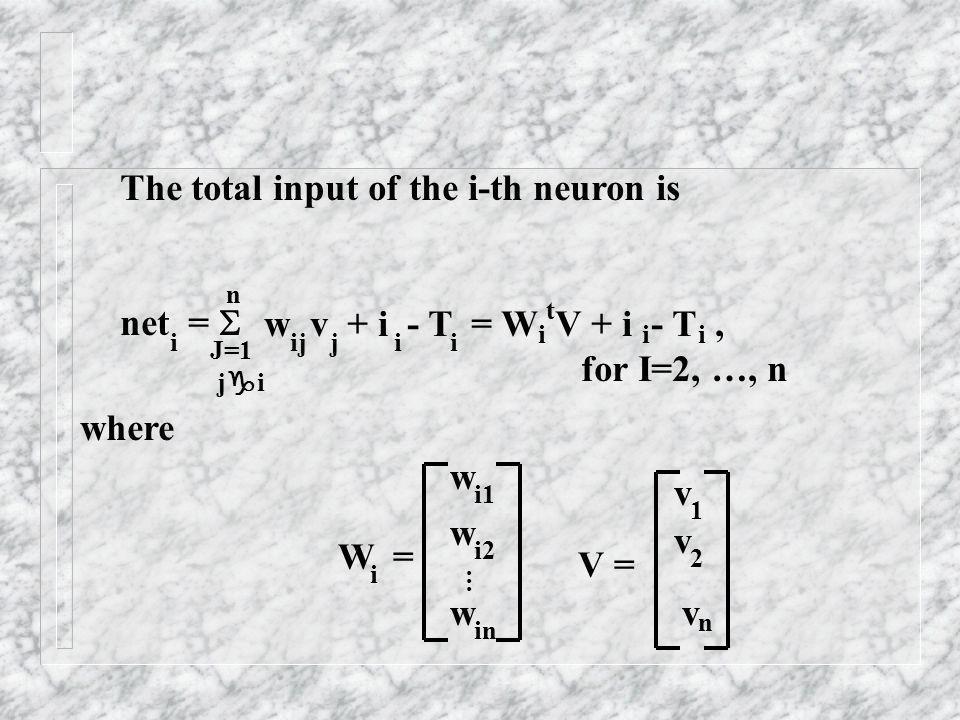 The total input of the i-th neuron is net = i J=1 j i n w v + i - T = W V + i - T, for I=2, …, n ijjii i t ii where W = w w w i i1 i2 in... V = v v v