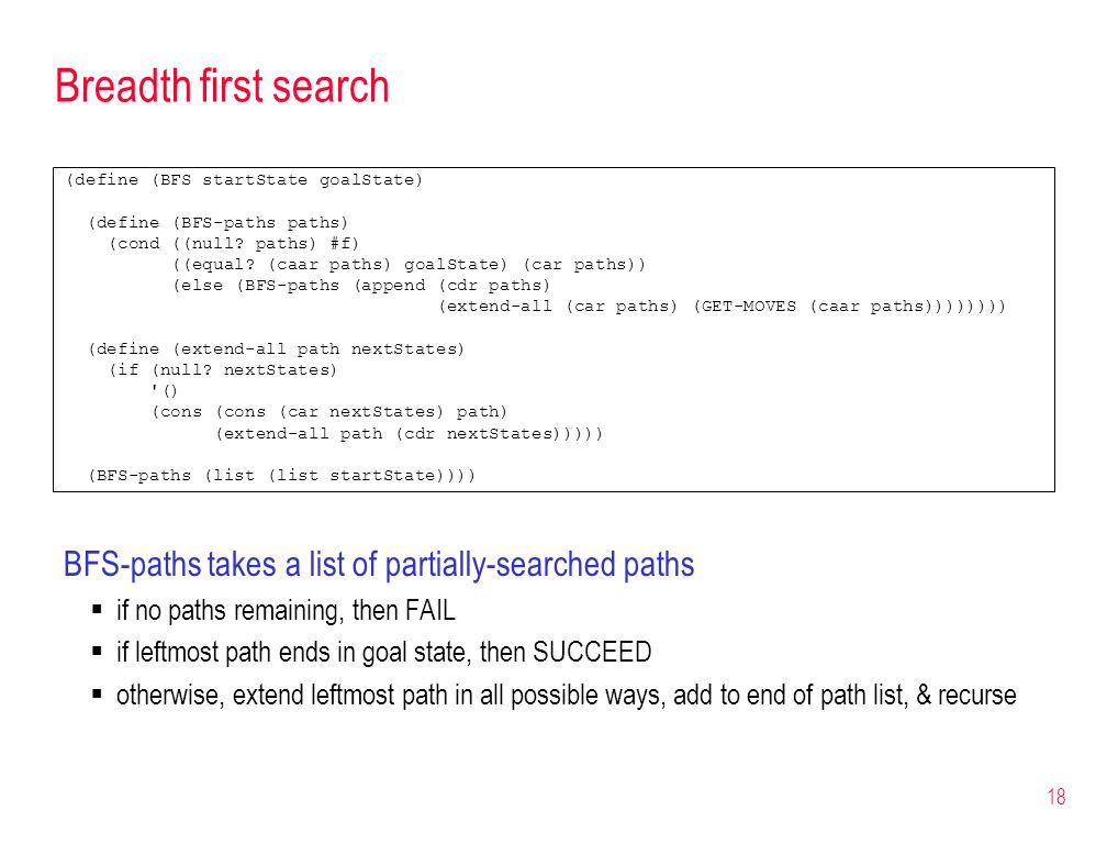 18 Breadth first search (define (BFS startState goalState) (define (BFS-paths paths) (cond ((null? paths) #f) ((equal? (caar paths) goalState) (car pa