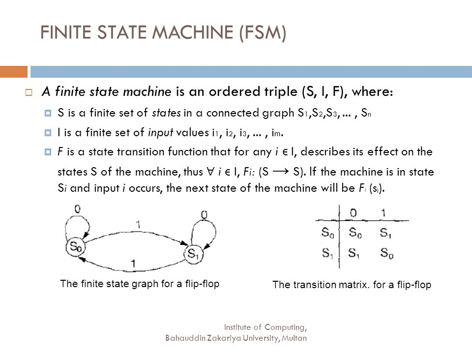 Institute of Computing, Bahauddin Zakariya University, Multan FINITE STATE MACHINE (FSM) A finite state machine is an ordered triple (S, I, F), where: