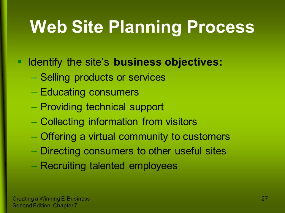 Creating a Winning E-Business Second Edition, Chapter 7 27 Web Site Planning Process Identify the sites business objectives: –Selling products or serv