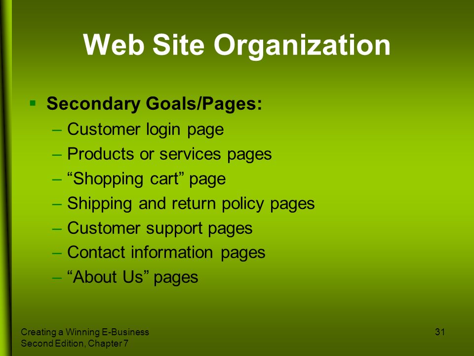 Creating a Winning E-Business Second Edition, Chapter 7 31 Web Site Organization Secondary Goals/Pages: –Customer login page –Products or services pag