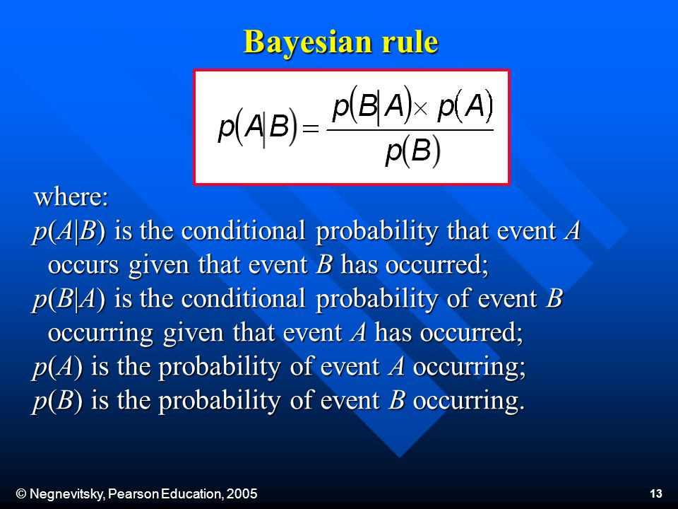 © Negnevitsky, Pearson Education, 2005 13 where: p(A B) is the conditional probability that event A occurs given that event B has occurred; p(B A) is the conditional probability of event B occurs given that event B has occurred; p(B A) is the conditional probability of event B occurring given that event A has occurred; p(A) is the probability of event A occurring; p(B) is the probability of event B occurring.