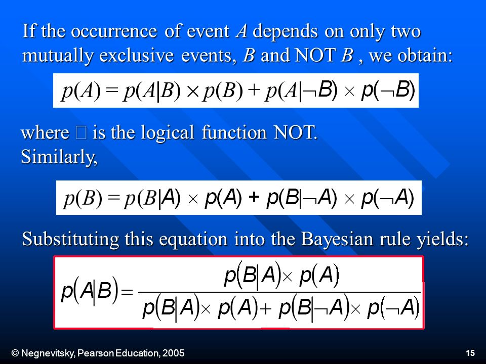 © Negnevitsky, Pearson Education, 2005 15 If the occurrence of event A depends on only two mutually exclusive events, B and NOT B, we obtain: where is the logical function NOT.