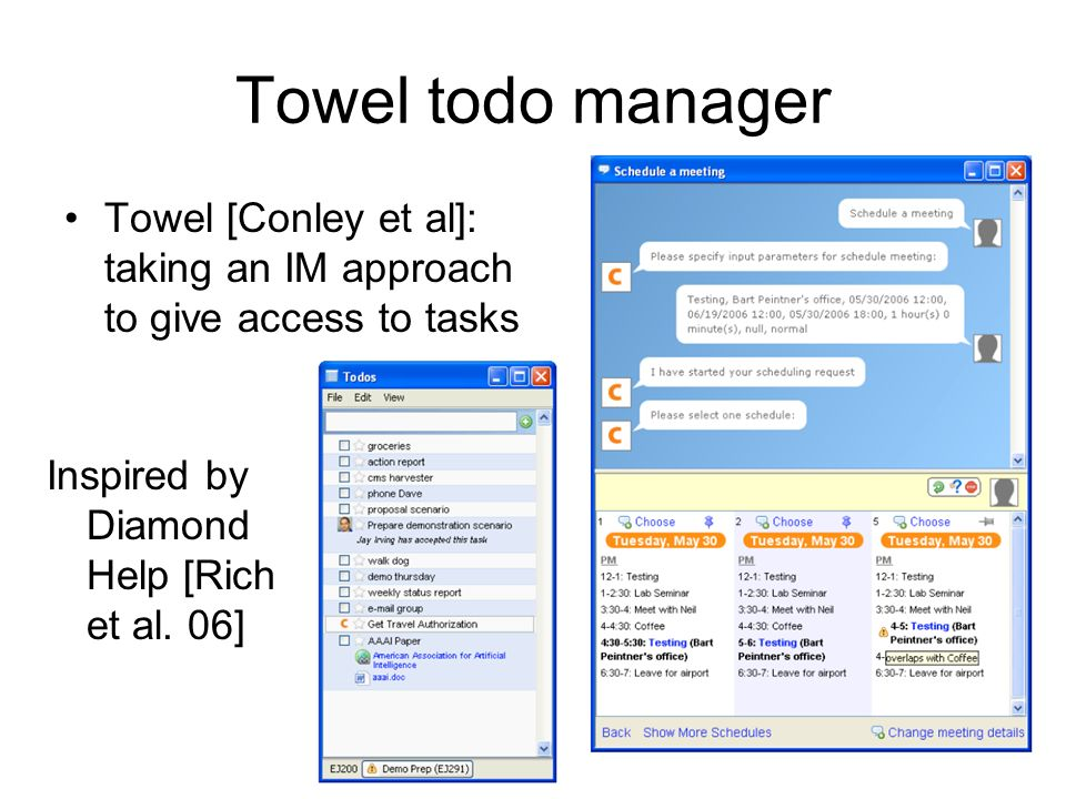 Towel todo manager Towel [Conley et al]: taking an IM approach to give access to tasks Inspired by Diamond Help [Rich et al.