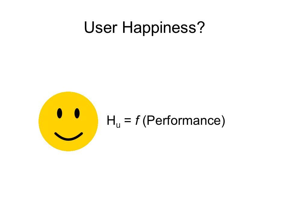 User Happiness? H u = f (Performance, Trust)