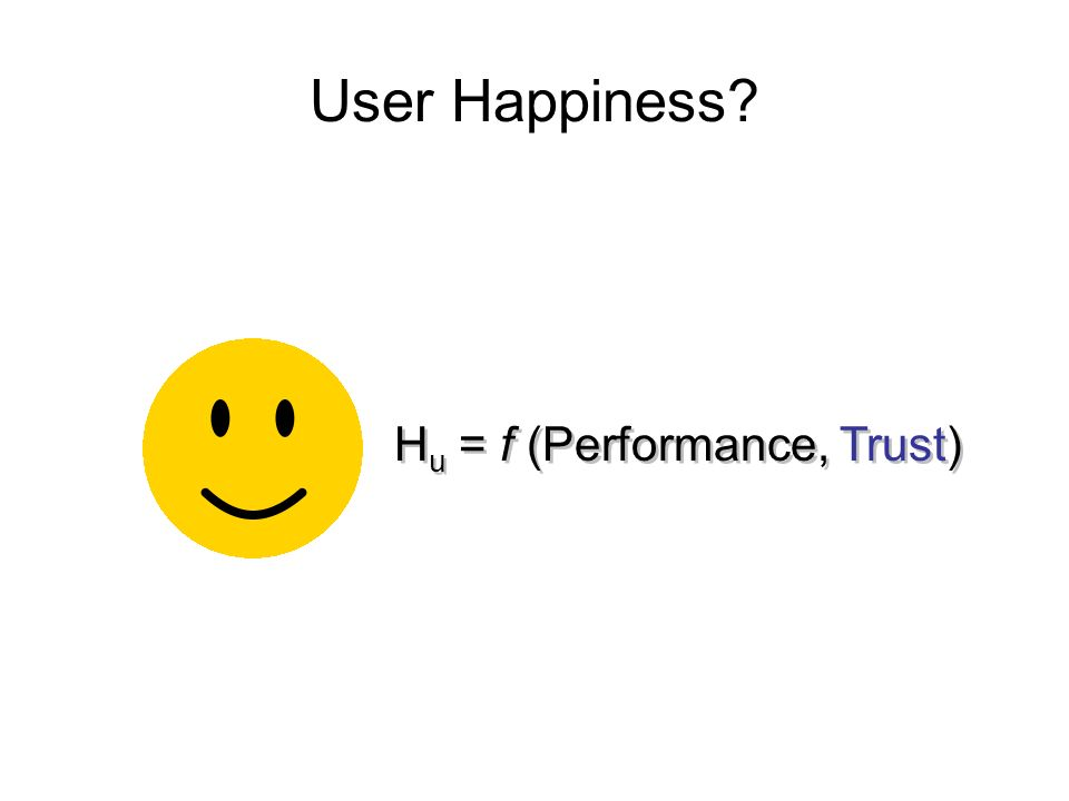 User Happiness H u = f (Performance, Trust)