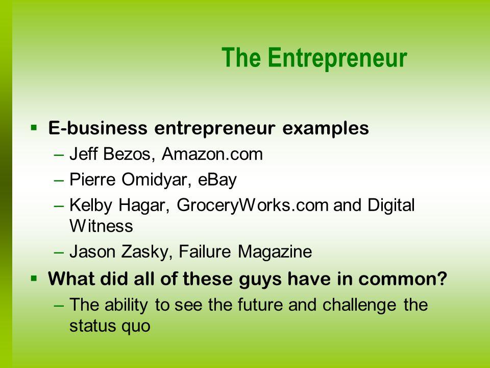 The Entrepreneur E-business entrepreneur examples –Jeff Bezos, Amazon.com –Pierre Omidyar, eBay –Kelby Hagar, GroceryWorks.com and Digital Witness –Ja