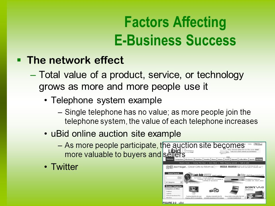Factors Affecting E-Business Success The network effect –Total value of a product, service, or technology grows as more and more people use it Telepho