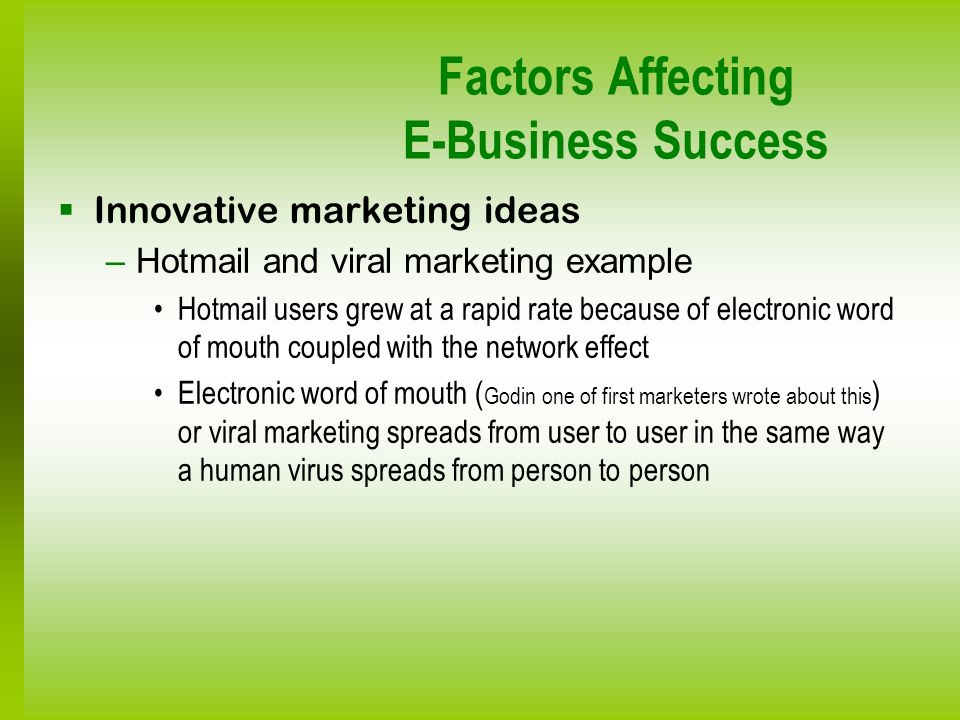 Factors Affecting E-Business Success Innovative marketing ideas –Hotmail and viral marketing example Hotmail users grew at a rapid rate because of ele