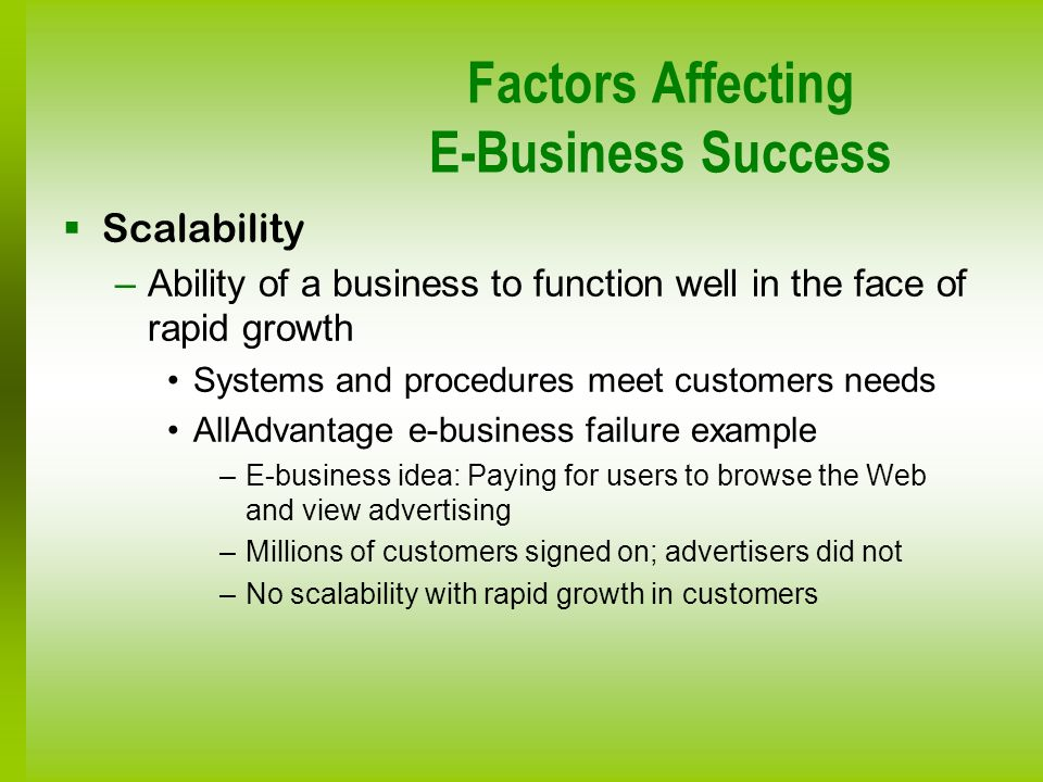 Factors Affecting E-Business Success Scalability –Ability of a business to function well in the face of rapid growth Systems and procedures meet custo