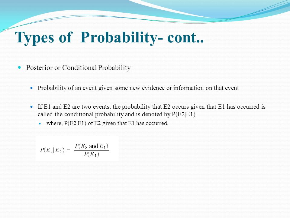 Types of Probability- cont..