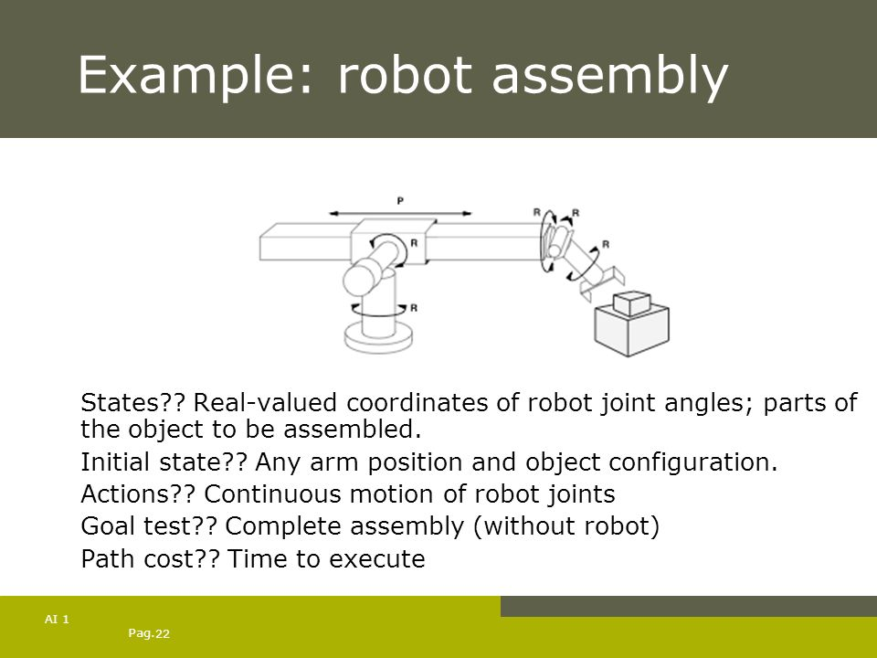 Pag. 22 AI 1 Example: robot assembly States?? Real-valued coordinates of robot joint angles; parts of the object to be assembled. Initial state?? Any