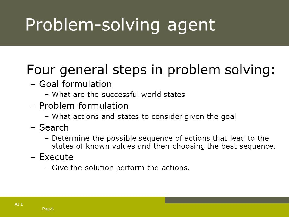 Pag. 5 AI 1 Problem-solving agent Four general steps in problem solving: –Goal formulation –What are the successful world states –Problem formulation