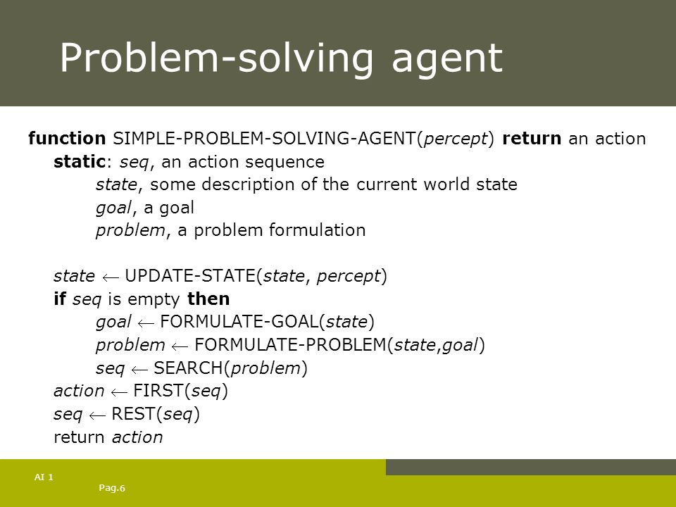 Pag. 6 AI 1 Problem-solving agent function SIMPLE-PROBLEM-SOLVING-AGENT(percept) return an action static: seq, an action sequence state, some descript