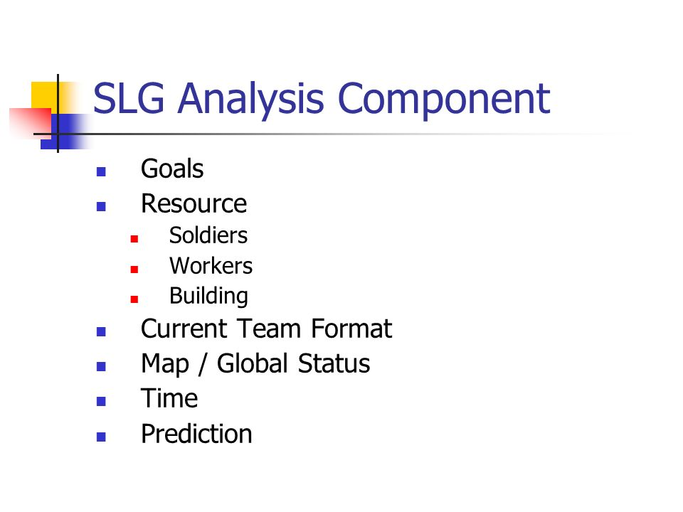 SLG Analysis Component Goals Resource Soldiers Workers Building Current Team Format Map / Global Status Time Prediction