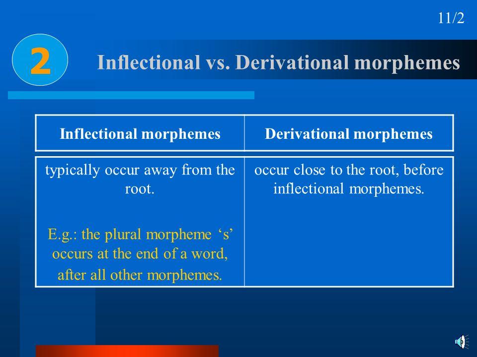 Inflectional morphemesDerivational morphemes Inflectional vs. Derivational morphemes typically occur away from the root. E.g.: the plural morpheme s o
