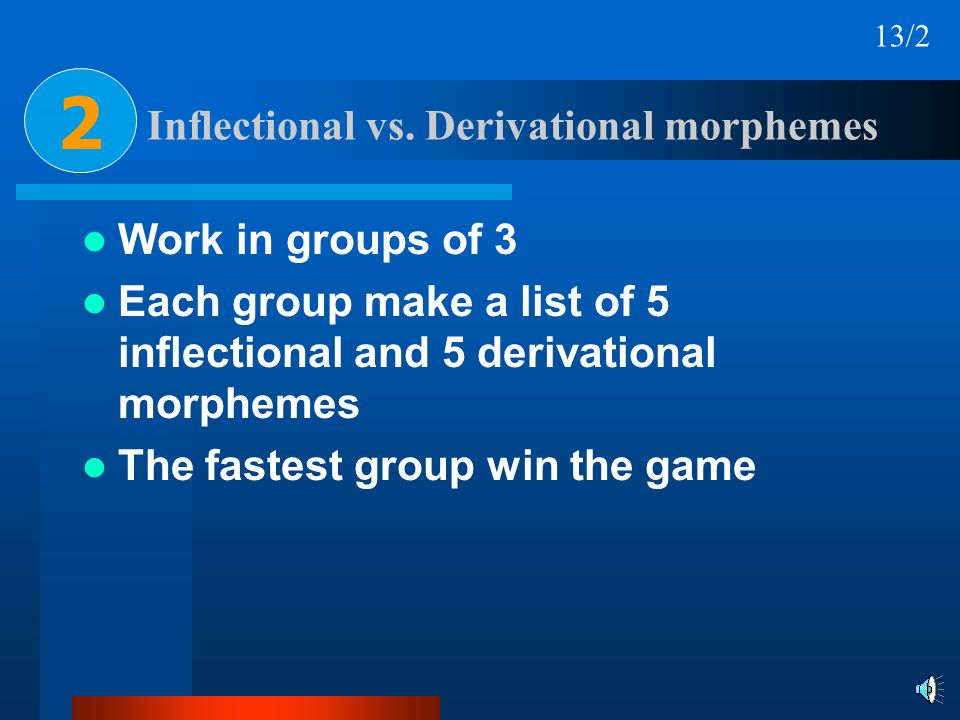 Inflectional vs. Derivational morphemes Work in groups of 3 Each group make a list of 5 inflectional and 5 derivational morphemes The fastest group wi