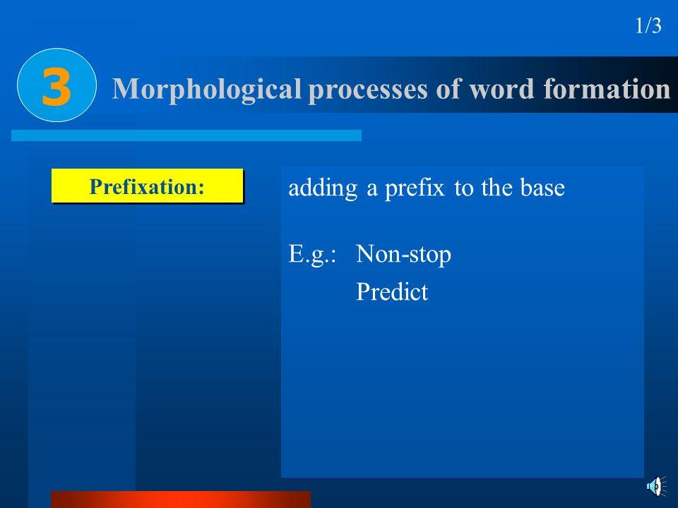 Prefixation: adding a prefix to the base E.g.: Non-stop Predict Morphological processes of word formation 1/3 3