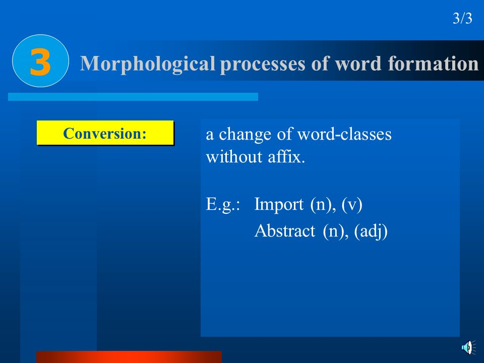 Conversion: a change of word-classes without affix. E.g.: Import (n), (v) Abstract (n), (adj) Morphological processes of word formation 3/3 3