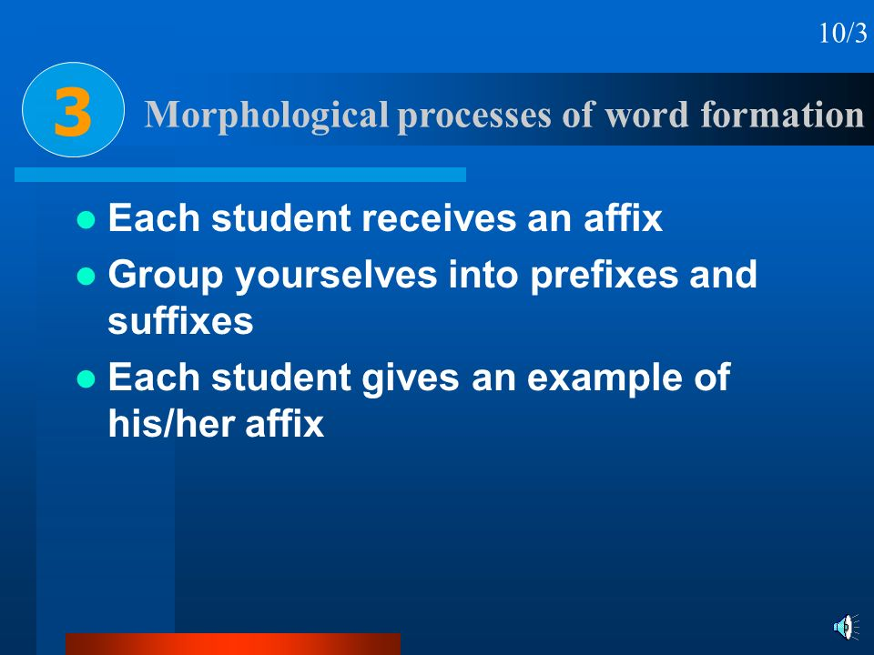 Morphological processes of word formation 3 10/3 Each student receives an affix Group yourselves into prefixes and suffixes Each student gives an exam