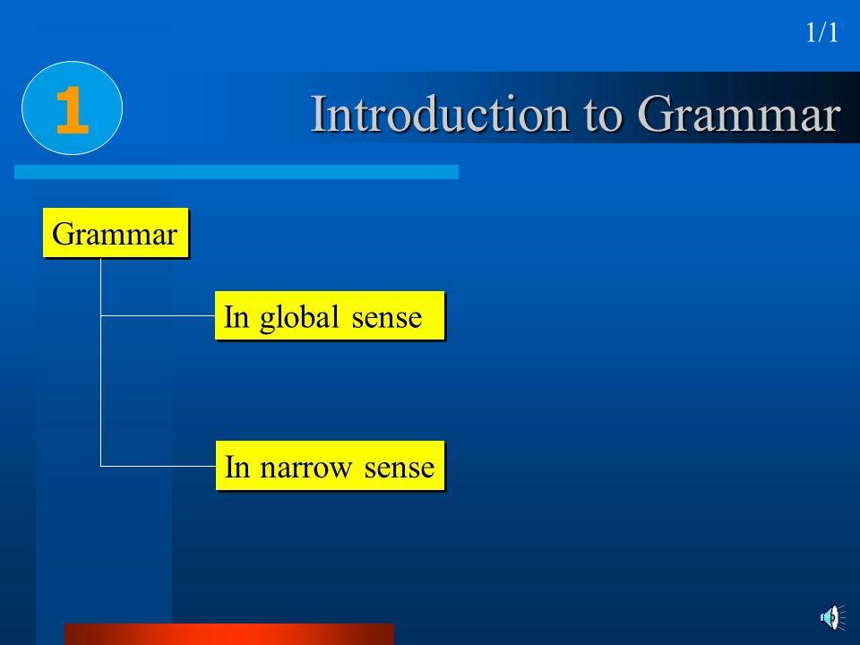 Introduction to Grammar Grammar In global sense In narrow sense 1 1/1