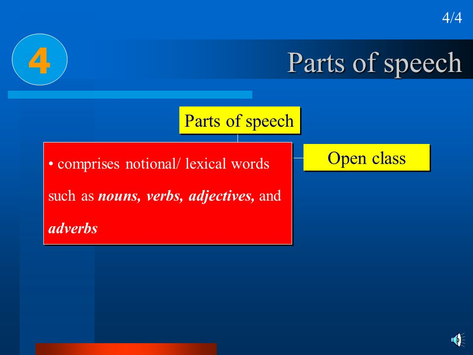 Parts of speech Closed system Open class 4 comprises notional/ lexical words such as nouns, verbs, adjectives, and adverbs 4/4