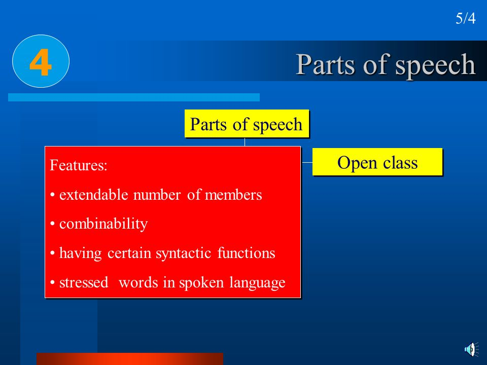 Parts of speech Closed system Open class 4 Features: extendable number of members combinability having certain syntactic functions stressed words in s