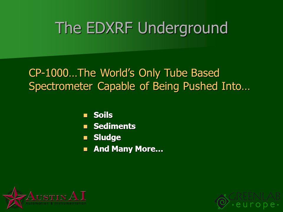 The EDXRF Underground Soils Soils Sediments Sediments Sludge Sludge And Many More… And Many More… CP-1000…The Worlds Only Tube Based Spectrometer Capa