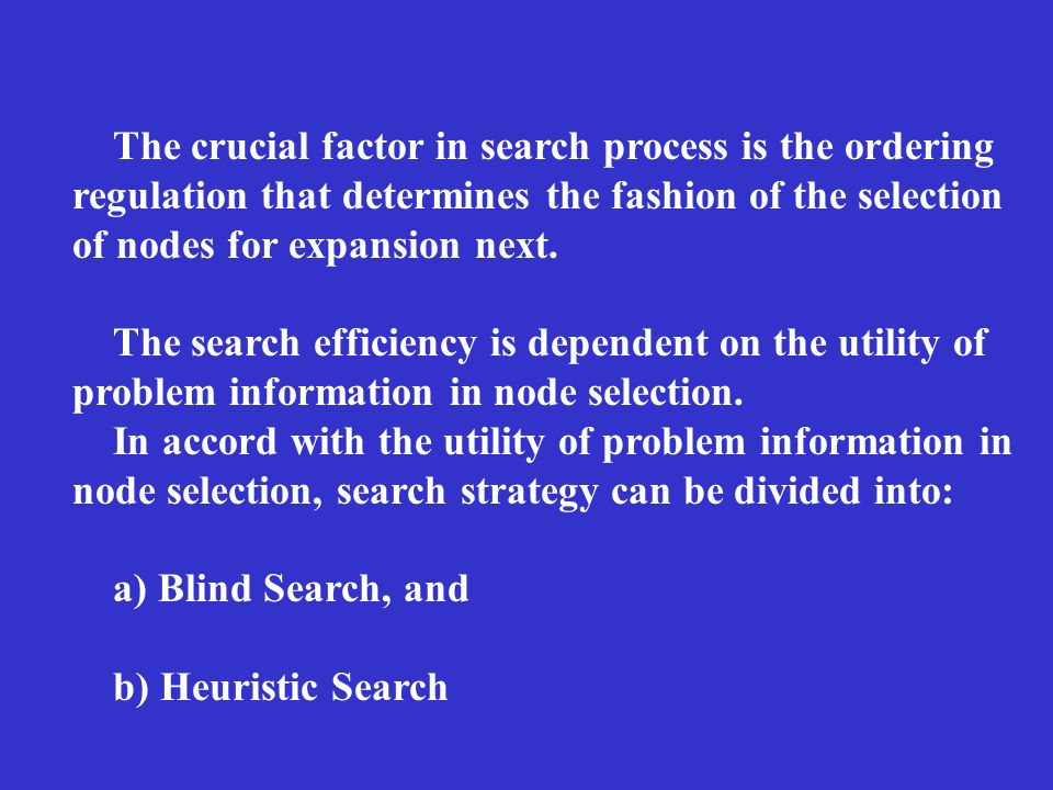 The crucial factor in search process is the ordering regulation that determines the fashion of the selection of nodes for expansion next.