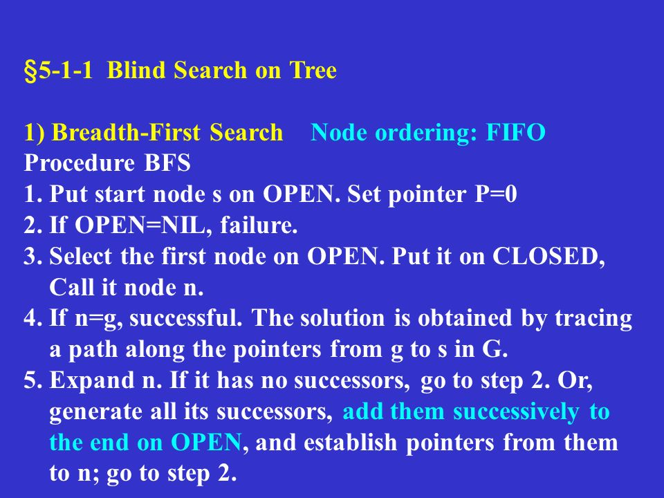 §5-1-1 Blind Search on Tree 1) Breadth-First Search Node ordering: FIFO Procedure BFS 1. Put start node s on OPEN. Set pointer P=0 2. If OPEN=NIL, fai