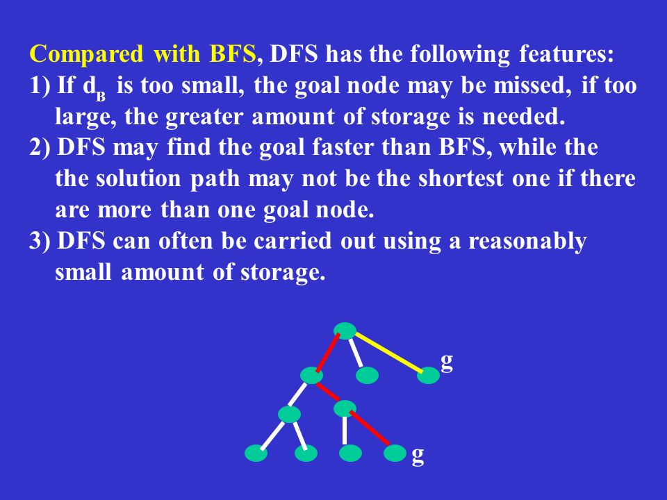 Compared with BFS, DFS has the following features: 1) If d is too small, the goal node may be missed, if too large, the greater amount of storage is n