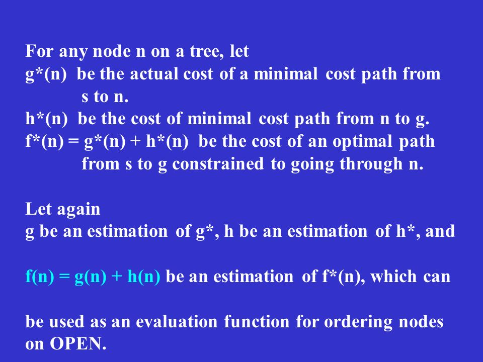 For any node n on a tree, let g*(n) be the actual cost of a minimal cost path from s to n. h*(n) be the cost of minimal cost path from n to g. f*(n) =