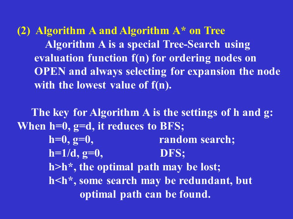(2) Algorithm A and Algorithm A* on Tree Algorithm A is a special Tree-Search using evaluation function f(n) for ordering nodes on OPEN and always selecting for expansion the node with the lowest value of f(n).